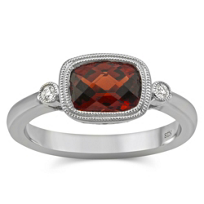14K_White_Gold_Cushion_Checkerboard_Garnet_and_Round_Diamond_Bezel_Set_Ring