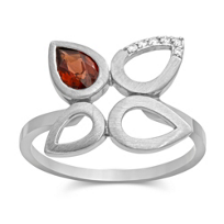 14K_White_Gold_Pear_Shape_Garnet_and_Round_Diamond_Floral_Ring