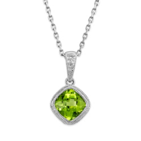 14K_White_Gold_Cushion_Checkerboard_Peridot_Bezel_Set_Pendant,_6mm