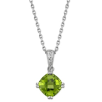 14K_White_Gold_Cushion_Checkerboard_Peridot_Pron_Set_Pendant,_7mm