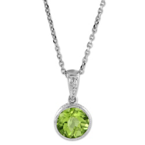 14K_White_Gold_Round_Checkerboard_Peridot_Bezel_Set_Pendant