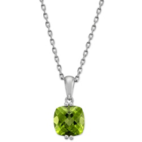 14K_White_Gold_Cushion_checkerboard_Peridot_Pendant_With_Chain