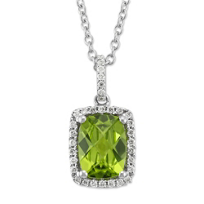 14K_White_Gold_Cushion_Checkerboard_Peridot_and_Round_Diamond_Pendant_With_Diamond_Bail