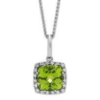 14K_White_Gold_Checkerboard_Cushion_Peridot_and_Round_Diamond_Pendant