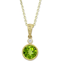 14K_Yellow_Gold_Checkerboard_Round_Peridot_and_Round_Diamond_Pendant