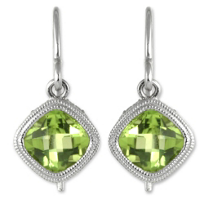 14K_White_Gold_Cushion_Checkerboard_Peridot_Bezel_Set_Dangle_Earrings