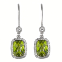 14K_White_Gold_Cushion_Checkerboard_Peridot_and_Round_Diamond_Bezel_Set_Dangle_Earrings