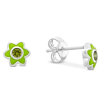 Sterling_Silver_Green_Enamel_and_Peridot_Flower_Earrings