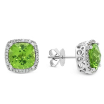 18K_White_Gold_Cushion_Peridot_and_Round_Diamond_Frame_Earrings