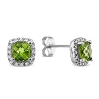 14K_White_Gold_Checkerboard_Cushion_Peridot_and_Round_Diamond_Earrings