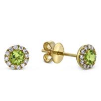 14K_Yellow_Gold_Peridot_and_Round_Diamond_Halo_Earrings