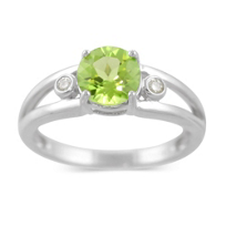 14K_White_Gold_Round_Peridot_and_Round_Diamond_Split_Shank_Ring