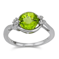 14K_White_Gold_Round_Checkerboard_Peridot_and_Round_Diamond_Ring