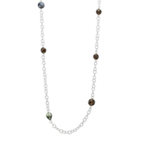 Sterling_Silver_Tahitian_Cultured_Pearl_and_Smoky_Quartz_Endless_Necklace,_36""