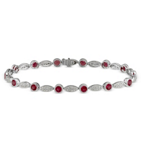 14K_White_Gold_Round_Ruby_and_Round_Diamond_Bracelet,_7""