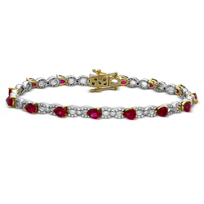 14K_Yellow_&_White_Gold_Pear_Shape_Ruby_and_Diamond_Bracelet