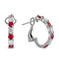 18K_White_Gold_Round_Ruby_and_Round_Diamond_Half_Hoop_Earrings