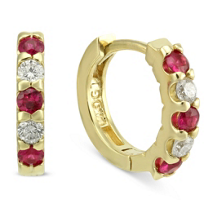 14K_Yellow_Gold_Round_Ruby_and_Round_Diamond_Huggy_Earrings