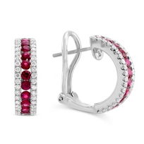 18K_White_Gold_Round_Ruby_and_Round_Diamond_Three_Row_Half_Hoop_Earrings