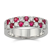14K_White_Gold_Round_Ruby_and_Diamond_Two_Row_Band