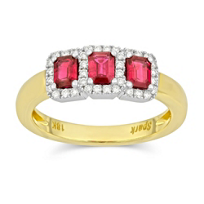 18K_Yellow_and_White_Gold_Emerald_Cut_Ruby_and_Round_Diamond_Ring