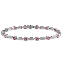 14K_White_Gold_Round_Pink_Sapphire_and_Round_Diamond_Bracelet,_7""