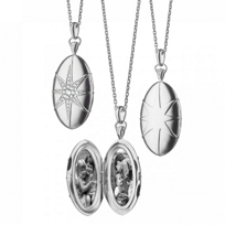"""Monica_Rich_Kosann_Sterling_Silver_Oval_Star-Set_Locket_With_White_Sapphire_Accents,_32"""""""