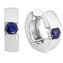 14K_White_Gold_Round_Sapphire_Huggy_Earrings