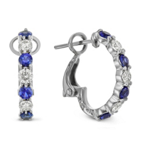 18K_White_Gold_Round_Sapphire_and_Round_Diamond_Prong_Set_Half_Hoop_Earrings