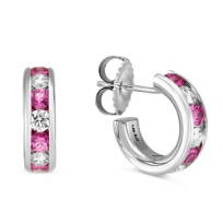 14K_White_Gold_Channel_Set_Round_Pink_Sapphire_and_Round_Diamond_Hoop_Earrings