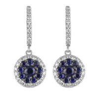 18K_White_Gold_Round_Sapphire_and_Round_Diamond_Circle_Earrings