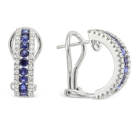 18K_White_Gold_Round_Sapphire_and_Diamond_Three_Row_Half_Hoop_Earrings