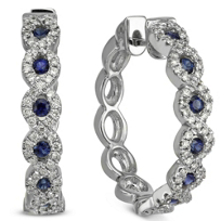 18K_White_Gold_Round_Sapphire_and_Diamond_Woven_Hoop_Earrings