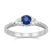 14K_White_Gold_Round_Sapphire_and_Round_Diamond_Ring