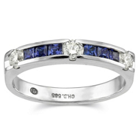 14K_White_Gold_Princess_Cut_Sapphire_and_Round_Diamond_Band