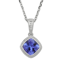 14K_White_Gold_Cushion_Tanzanite_Pendant