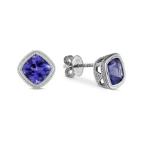 14K_White_Gold_Cushion_Tanzanite_Earrings