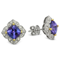 14K_White_Gold_Cushion_Tazanite_and_Diamond_Earrings