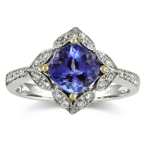 14K_Cushion_Cut_Tanzanite_and_Diamond_Ring