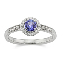 14K_White_Gold_Round_Tanzanite_and_Diamond_Ring
