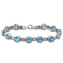 "Sterling_Silver_Blue_Topaz_Bracelet,_7"""