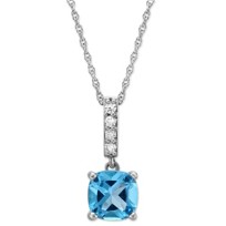 14K_White_Gold_Cushion_Blue_Topaz_and_Diamond_Pendant