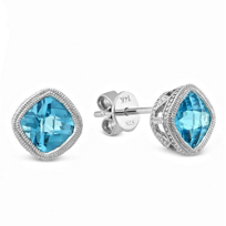 14K_White_Gold_Cushion_Blue_Topaz_Earrings