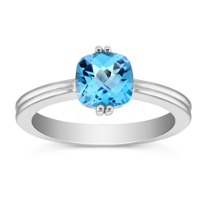 14K_White_Gold_Checkerboard_Faceted_Blue_Topaz_Ring