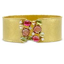 14K_Yellow_Gold_Tourmaline_and_Diamond_Cuff_Bracelet