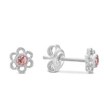 Sterling_Silver_Child's_Pink_Tourmaline_Flower_Earrings