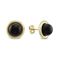14K_Black_Onyx_Button_Earrings