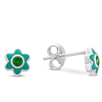Sterling_Silver_Child's_Green_Enamel_and_Green_Crystal_Flower_Earrings