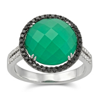 18K_White_Gold_Green_Agate_and_White_Topaz_Doublet_With_Round_Black_and_White_Diamond_Ring