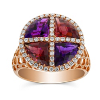 14K_Rose_Gold_Amethyst,_Rhodolite_Garnet_and_Diamond_Ring